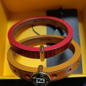 2 Leather Fendi bangles